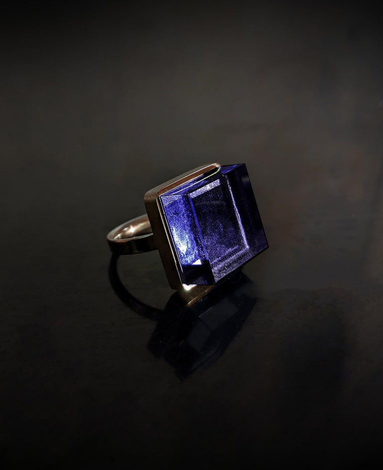 This Art Deco Style men ring is in 14 Karat yellow or rose gold with 15x15x8 mm natural amethyst. It was published in Harper's Bazaar and Vogue UA.   The ring reflects the art deco spirit and fits to women and men. It inspires the architects,