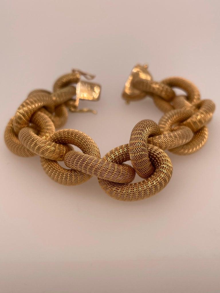 Modern Yellow Gold Mesh Link Bracelet For Sale