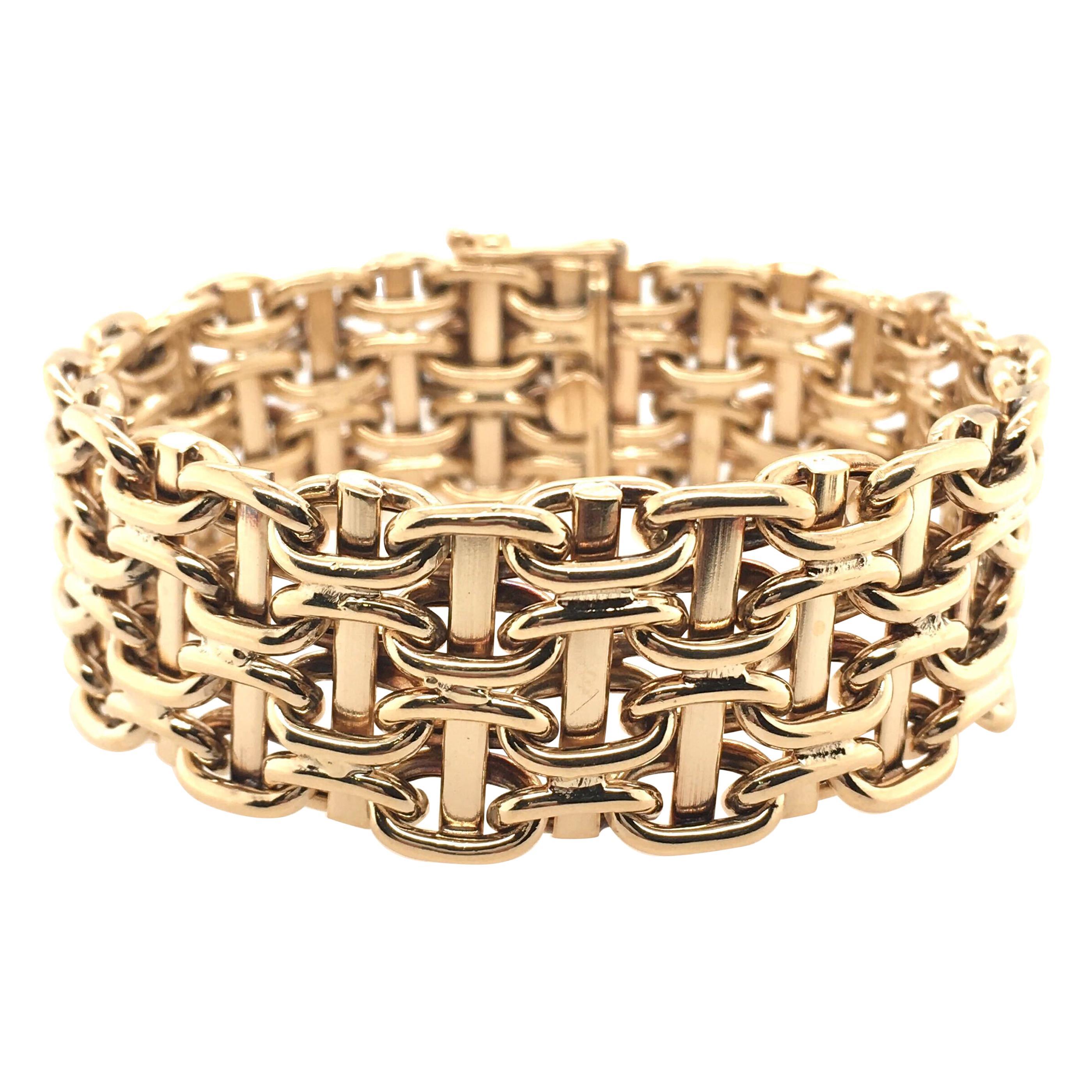 Yellow Gold Mesh Link Bracelet