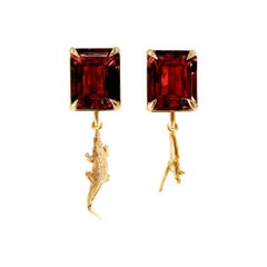 Yellow Gold Mesopotamia Clip-On Earrings by Artist with Rhodolite Garnet