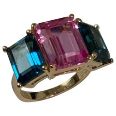 Yellow Gold Mini Emerald Cut Ring with Blue Topaz and Pink Topaz