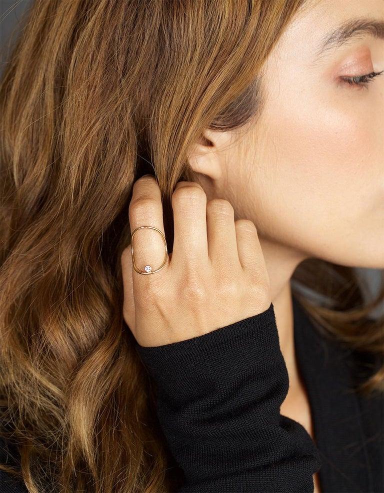 Contemporary Yellow Gold Minimalist Diamond Statement Ring