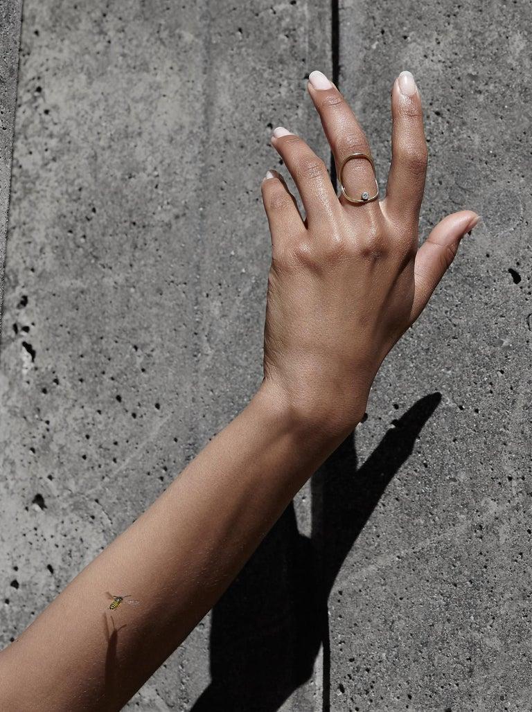 Women's Yellow Gold Minimalist Diamond Statement Ring