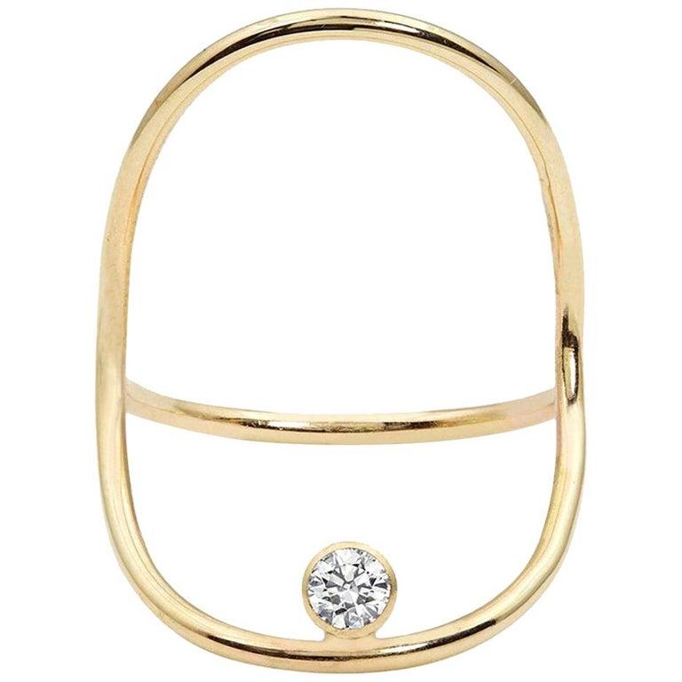 Yellow Gold Minimalist Diamond Statement Ring