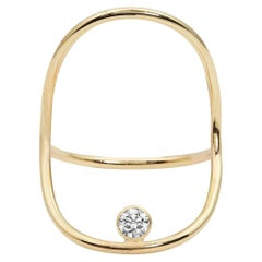 Yellow Gold Minimalist Diamond Statement Ring