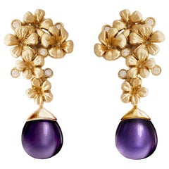 Yellow Gold Modern Plum Blossom Cocktail Earrings with Diamonds, Feat. in Vogue