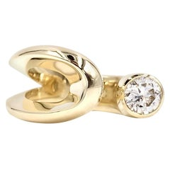 Yellow Gold Modern Solitaire Diamond Open Cuff Ring