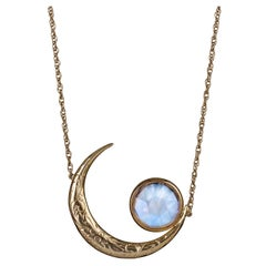 Yellow Gold Moonstone Crescent Moon Engraved Necklace