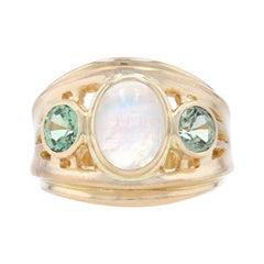 Yellow Gold Moonstone & Green Sapphire Ring, 18k Cabochon Cut 3.60ctw