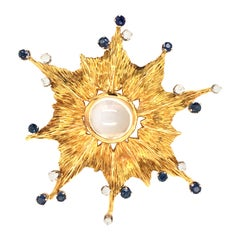 Yellow Gold Moonstone Sapphire Diamond Brooch