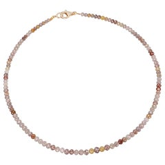 Nina Runsdorf Yellow Gold Multi-Color Rough Diamond Necklace Pave Diamond Clasp