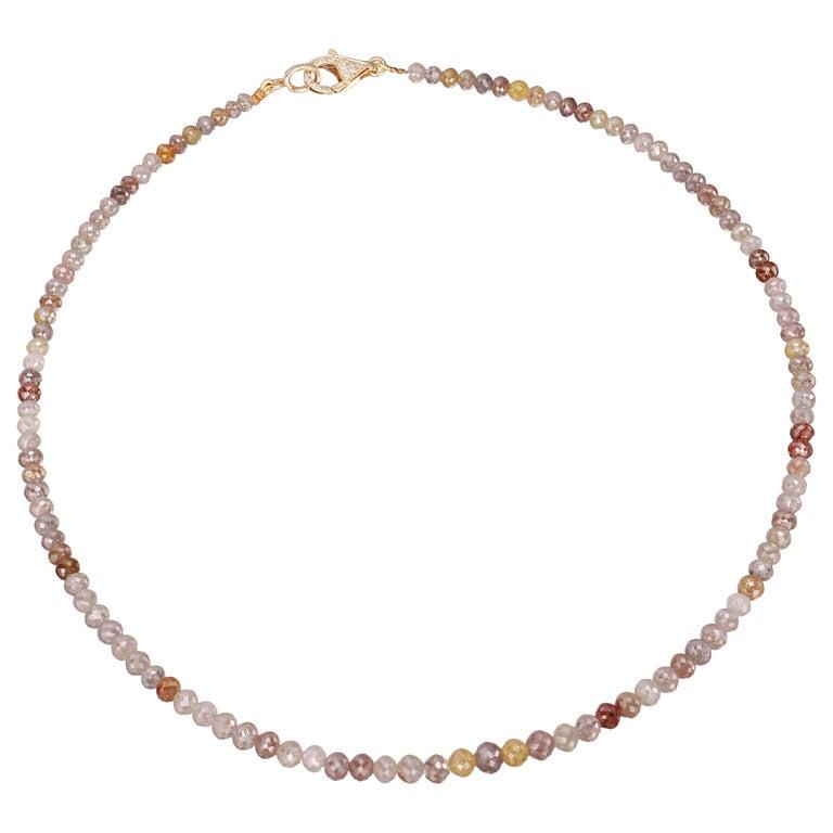 Nina Runsdorf Yellow Gold Multi-Color Rough Diamond Necklace Pave Diamond Clasp For Sale
