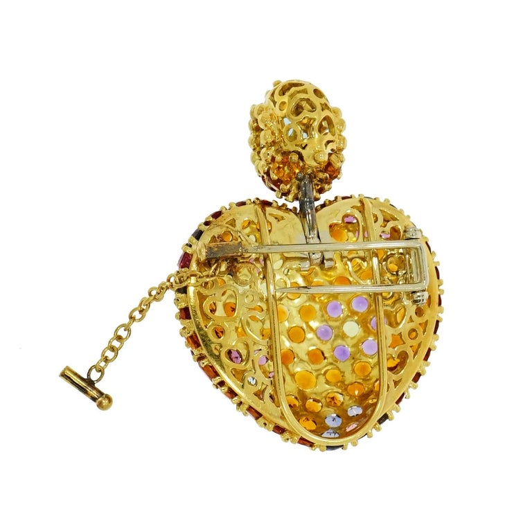 Artist Yellow Gold Multi-Gemstones Heart Pendant or Brooch For Sale