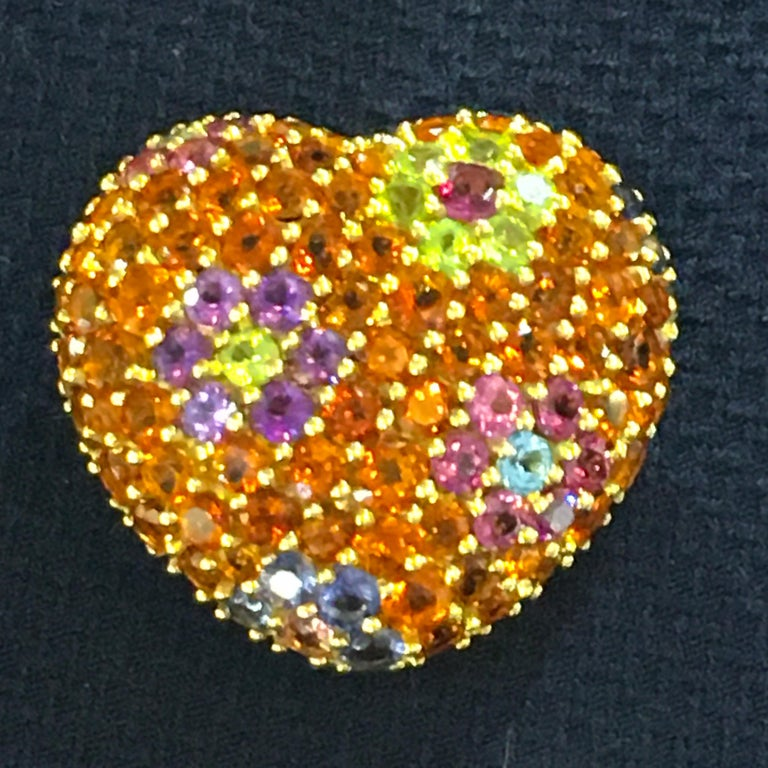 Yellow Gold Multi-Gemstones Heart Pendant or Brooch In Excellent Condition For Sale In Greenwich, CT