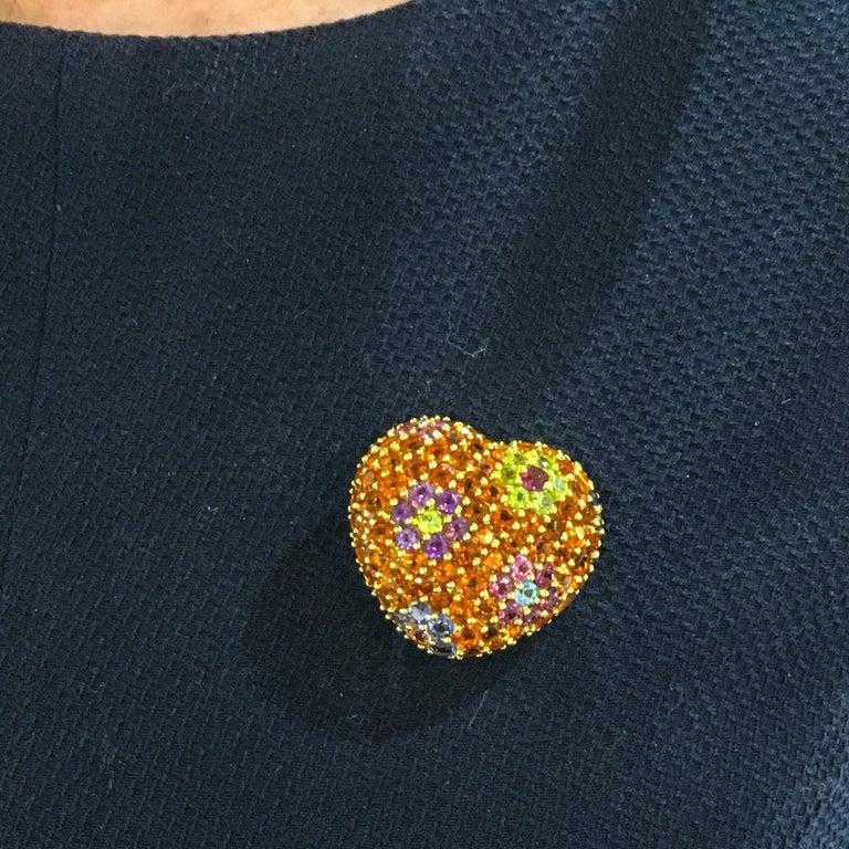 Women's Yellow Gold Multi-Gemstones Heart Pendant or Brooch For Sale