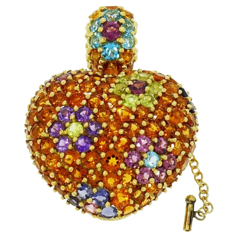 Yellow Gold Multi-Gemstones Heart Pendant or Brooch For Sale