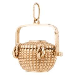 Yellow Gold Nantucket Basket Charm or Pendant
