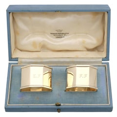 Vintage George VI 1940s Yellow Gold Napkin Rings