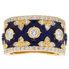 Yellow Gold Navy Blue Enamel Band Ring with Diamonds Stambolian