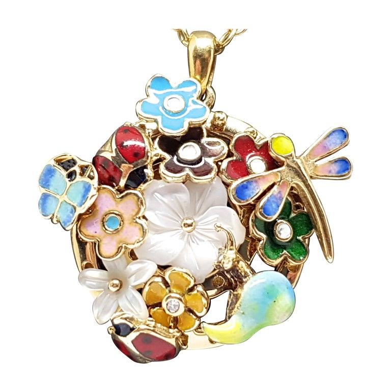 Yellow Gold Necklace Mother of Pearl Diamond Multi-Color Enamel Pendant For Sale