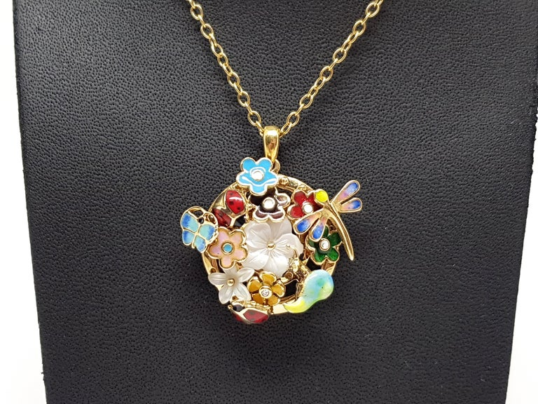 Contemporary Yellow Gold Necklace Mother of Pearl Diamond Multi-Color Enamel Pendant For Sale
