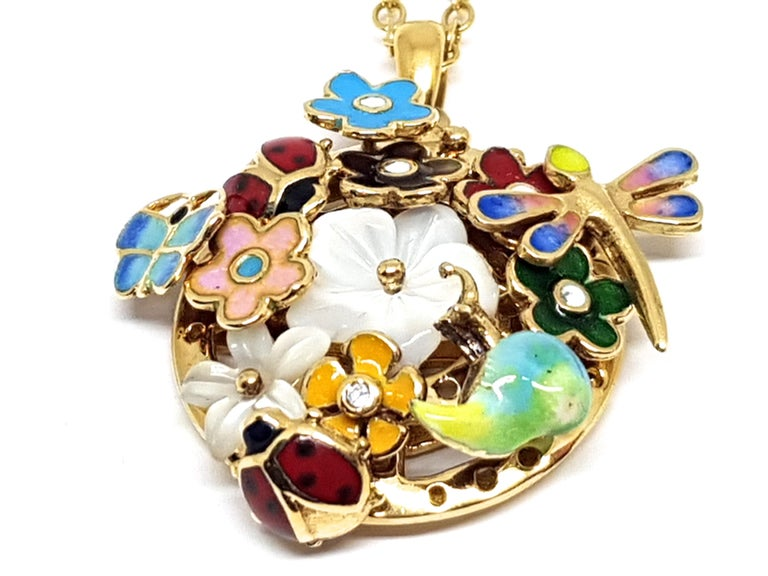 Yellow Gold Necklace Mother of Pearl Diamond Multi-Color Enamel Pendant For Sale 1