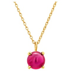Yellow Gold Necklace Pendant with Round Cabochon Ruby Drop