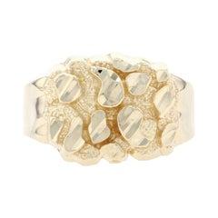 Yellow Gold Nugget-Textured Men's Ring - 10k