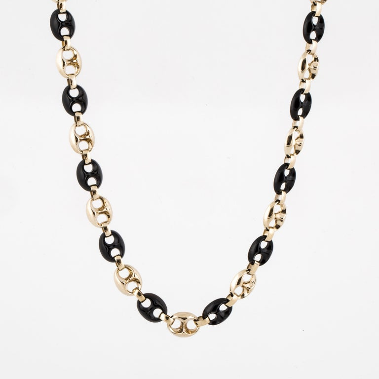 Women's or Men's Yellow Gold Onyx Anchor Link Necklace For Sale