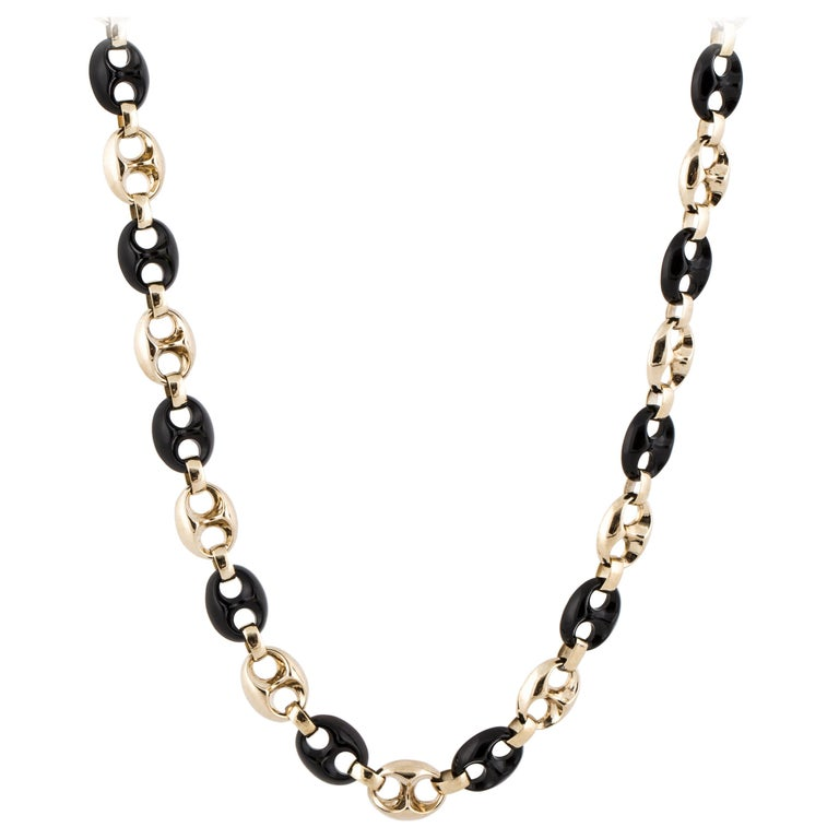 Yellow Gold Onyx Anchor Link Necklace For Sale