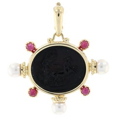 Yellow Gold Onyx Intaglio Akoya Pearl Ruby Ancient Chariot Enhancer Pendant 18k