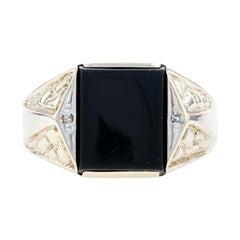 Yellow Gold Onyx & Diamond Men's Ring, 10k Nugget Texture