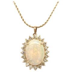 Yellow Gold, Opal, and Diamond Pendant