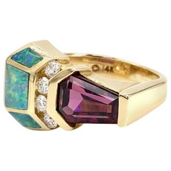 Yellow Gold Opal, Diamond and Rubellite Tourmaline Ring