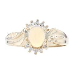Yellow Gold Opal & Diamond Bypass Ring, 14k Cabochon Cut .60ctw
