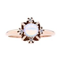 Yellow Gold Opal & Diamond Victorian Ring, 10k Cabochon Cut .36ctw Antique