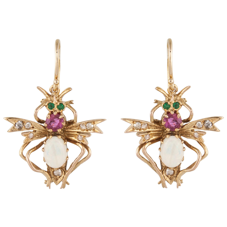 Vintage luxury earrings GOLD Ruby red earrings pearl winged bee  earrings emerald crystal ruby earrings insect bee earrings ladies earrings