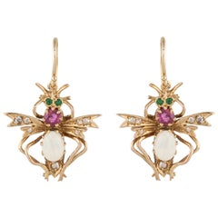 Yellow Gold Opal Emerald Ruby Flying Bug Earrings