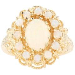 Yellow Gold Opal Flower Halo Ring, 14 Karat Oval Cabochon Cut 1.60 Carat