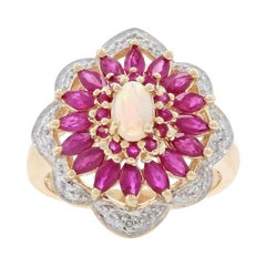 Yellow Gold Opal, Ruby, & Diamond Flower Halo Ring, 10k Oval Cut 2.78ctw