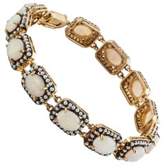 Opal and Seed Pearl Bracelet in 18K Yellow Gold