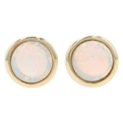 Yellow Gold Opal Stud Earrings, 14 Karat Round Cabochon Cut .51 Carat Pierced