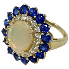 Yellow Gold Opal White Sapphire and Kyanite Ring