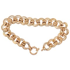 Yellow Gold Open Circle Link Bracelet