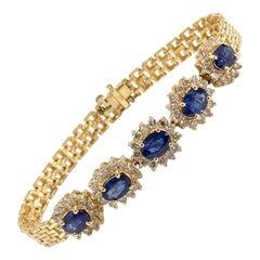 Yellow Gold Oval Blue Sapphire and Diamond Bracelet