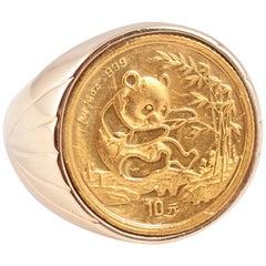 Yellow Gold Panda Coin Ring