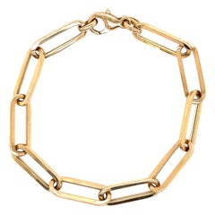 Yellow Gold Paperclip Link Bracelet