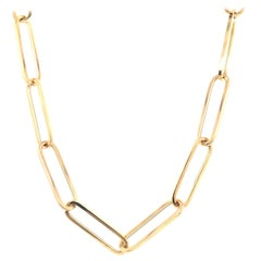 Yellow Gold Paperclip Link Chain Necklace