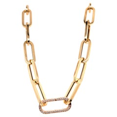 Yellow Gold Paperclip Necklace with Yellow Gold Diamond Link
