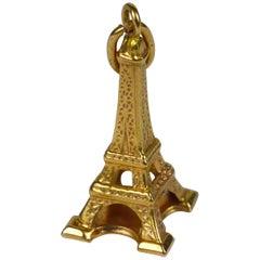 Yellow Gold Paris Landmark Eiffel Tower Charm Pendant